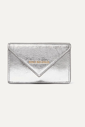Balenciaga Papier Mini Printed Metallic Textured-leather Wallet - Silver