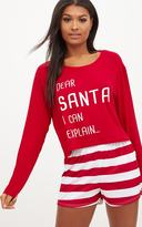 PrettyLittleThing Red Dear Santa I Can Explain Crop Short Set