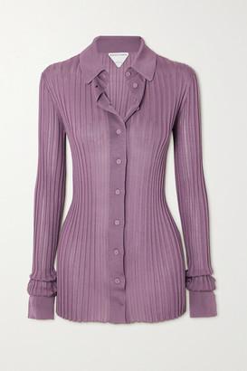 Bottega Veneta Ribbed Silk Shirt - Purple