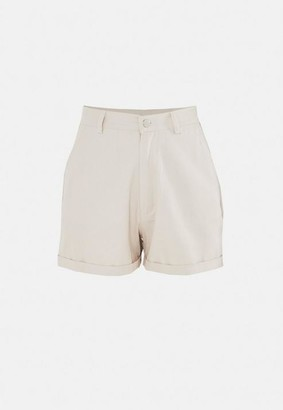 Missguided Tall Beige Cotton Tailored Shorts