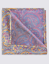 M&S Collection Pure Silk Paisley Print Pocket Square