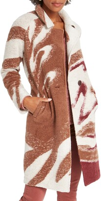 Nic+Zoe Abstract Waves Sweater Coat