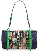 Bottega Veneta Multicolor Intrecciato Leather & Snakeskin Top-Handle Bag