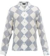 Giorgio Armani Shawl-collar Diamond-print Satin Shirt - Mens - Blue Multi