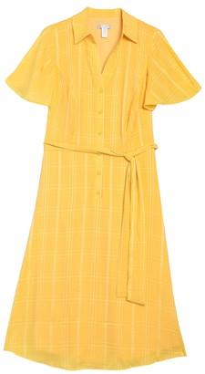 London Times Flutter Sleeve A-Line Shirt Dress (Plus Size)