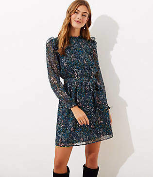 LOFT Petite Floral Smocked Tie Waist Dress