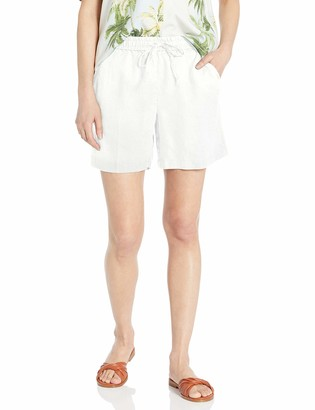 "28 Palms Women's 6"" Inseam Linen Short with Drawstring"