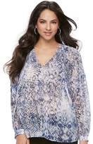 JLO by Jennifer Lopez Women's Printed Peasant Top