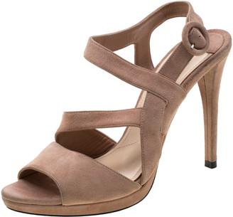 Prada Beige Suede Asymmetrical Ankle Strap Sandals Size 37.5