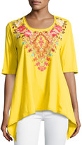 Johnny Was Floral-Embroidered Trapeze Tee, Yellow