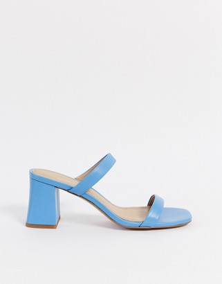 And other stories & leather square toe heeled sandal in blue