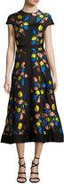 Lela Rose Cap-Sleeve Tulip Fil Coupé A-Line Dress, Black/Multicolor