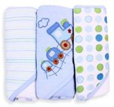 SpaSilk Baby Stripe/Train Applique/Dots 3-Count Terry Hooded Towel in Blue