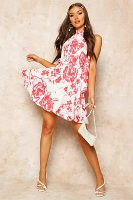 boohoo Floral Print High Neck Skater Dress