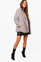 Thumbnail for your product : boohoo Petite Double Breasted Teddy Coat