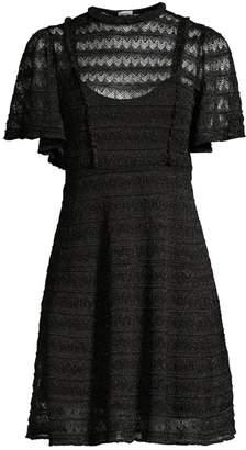 M Missoni Sheer Glitter-Knit Geometric Lace Dress