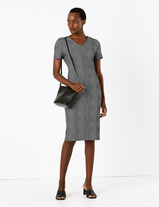 Marks and Spencer Jersey Checked V-Neck Midi Bodycon Dress