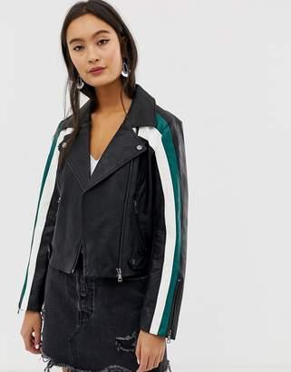 Only colour block faux leather biker jacket-Black