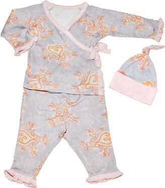 Baby Grey By Everly Grey Wrap Top, Pants & Hat Set