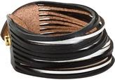 Linea Pelle Two Tone Sliced Leather Cuff (Black/Silver) - Jewelry