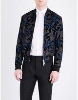 Dsquared2 Posy-print Velvet Bomber Jacket