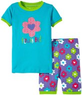 Hatley Flower Hearts PJ Set (Toddler/Kid) - Aqua - 4T