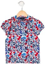 Oscar de la Renta Girls' Floral Print Short Sleeve Top