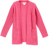 Pink Angel Fuzzy Pink Cable-Knit Open Cardigan - Girls