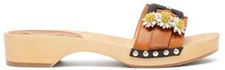 Fabrizio Viti - Daisy Applique Leather And Wooden Slides - Womens - Tan