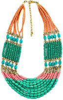 Decree Multicolor Bead Gold-Tone Statement Necklace