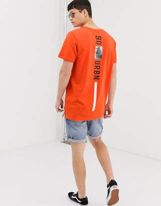 Jack and Jones Core oversized back print t-shirt in orange-Red