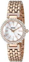 Badgley Mischka Women's BA/1344WMRG Swarovski Crystal-Accented Rose Gold-Tone Bracelet Watch