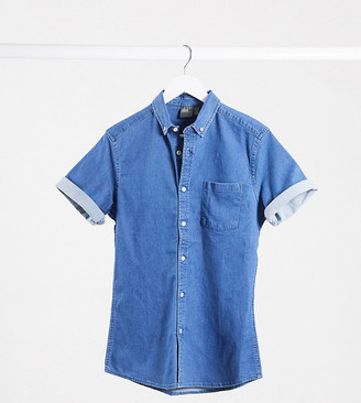 Asos DESIGN Tall stretch slim organic denim shirt in mid wash