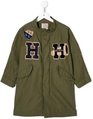 Denim Dungaree embroidered shirt jacket