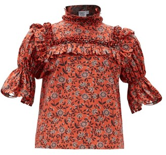 Horror Vacui Lucy Scalloped Floral-print Cotton Blouse - Red