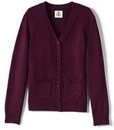 Classic Girls Performance Button Front Cardigan-Khaki
