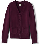 Lands' End Girls Performance Button Front Cardigan-Burgundy
