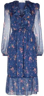 Philosophy di Lorenzo Serafini Floral Print Ruffled Midi Dress