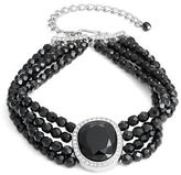 Kenneth Jay Lane Faceted Crystal Pendant Layered Beaded Choker Necklace