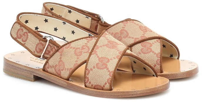 Gucci Kids GG canvas and leather sandals
