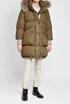 Burberry Quilted Down Jacket with Fur-Trimmed Hood and Knit Cuffs