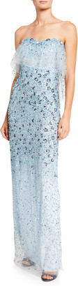 Pamella Roland 3D-Flower Embroidered Strapless Gown