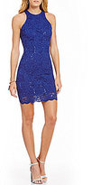 Jump Sleeveless Scalloped-Hem Sequin Lace Sheath Dress