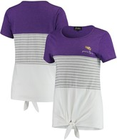 Unbranded LSU Tigers Why Knot Colorblocked Striped Knotted T-Shirt - Purple