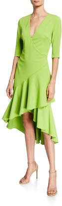 Badgley Mischka Surplice Elbow-Sleeve High-Low Flounce-Skirt Dress