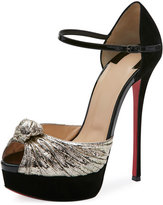 Christian Louboutin Marchavekel Ankle-Wrap 150mm Red Sole Sandal, Platino