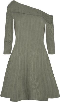 Fashion Star Womens Off One Shoulder Long Sleeve Peplum Frill Flared Mini Swing Dress Khaki