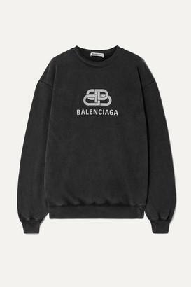 Balenciaga Oversized Printed Cotton-jersey Sweatshirt - Anthracite