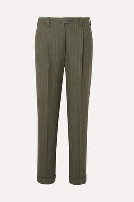 Giuliva Heritage Collection Cornelia Pinstriped Wool Tapered Pants - Dark green