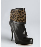Fendi black leather leopard pony hair cuffed boots